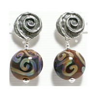 Brown Raku Earrings