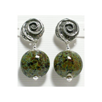 Green Croc Earrings