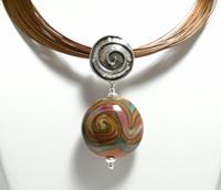 Raku Brown with Turquoise Pendant