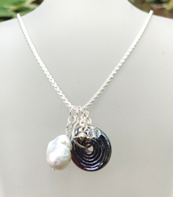 Pearl White Blue Necklace