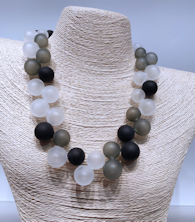 Black and Gray Bubbles Necklace