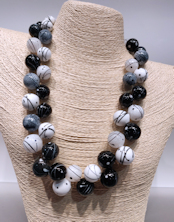 Black and White Bubbles Necklace