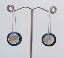 Disk Silver Glass Blue Earrings