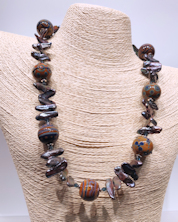 Glass Brown Blue Pearls Necklace