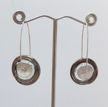 Disk Silver Bronze Earrings