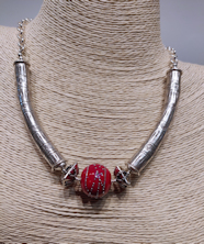 Silver Red Short Necklace