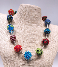 Flowers and Dots Necklace Sterling