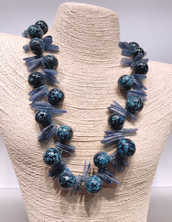 Denim and Kyanite Bubbles Necklace