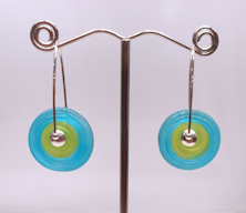 Aqua Etched Earrings