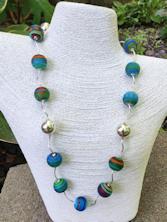 Aqua Satin Long Necklace