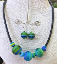 Three Bead Aqua Satin Tube Necklace Set