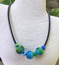 Three Bead Aqua Satin Necklace