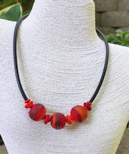 Three Bead Red Satin Tube Necklace