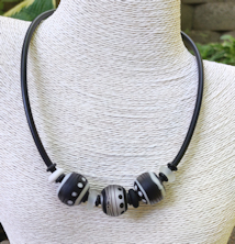 Three Bead Black and White Satin Tube Necklace