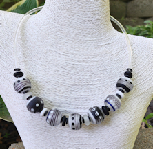 Black and White Satin Tube Necklace