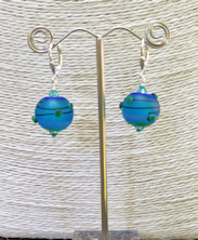 Aqua Dots Satin Earrings
