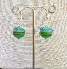Lime Dots Satin Earrings