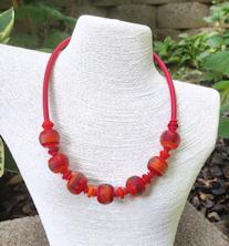 Red/Orange/Pink Satin Tube Necklace