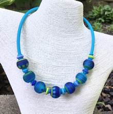 Periwinkle/Blue Satin Tube necklace
