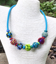 Flowers and Dots Tube necklace