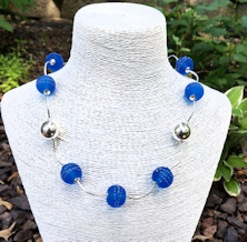 Aqua Satin Silver Necklace