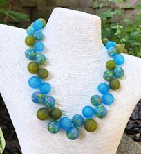 Aqua and Green Bubbles Necklace