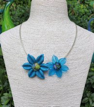 Flower Pendant Duo - Aqua blue