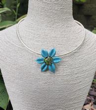 Flower Pendant - Aqua