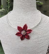 Flower Pendant - Crimson Red