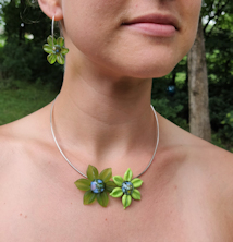 Flower Pendant Duo - Lime Green