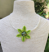 Flower Pendant - Lime Green