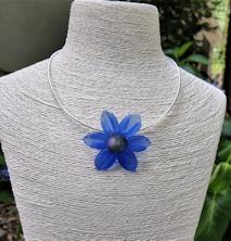 Flower Pendant - Blue Satin
