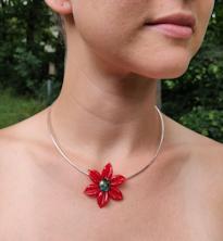 Flower Pendant - Red Satin