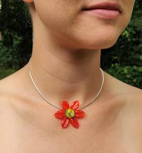 Flower Pendant - Orange Satin