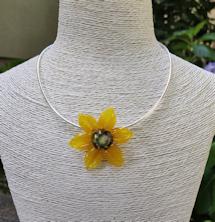 Flower Pendant - Yellow Satin