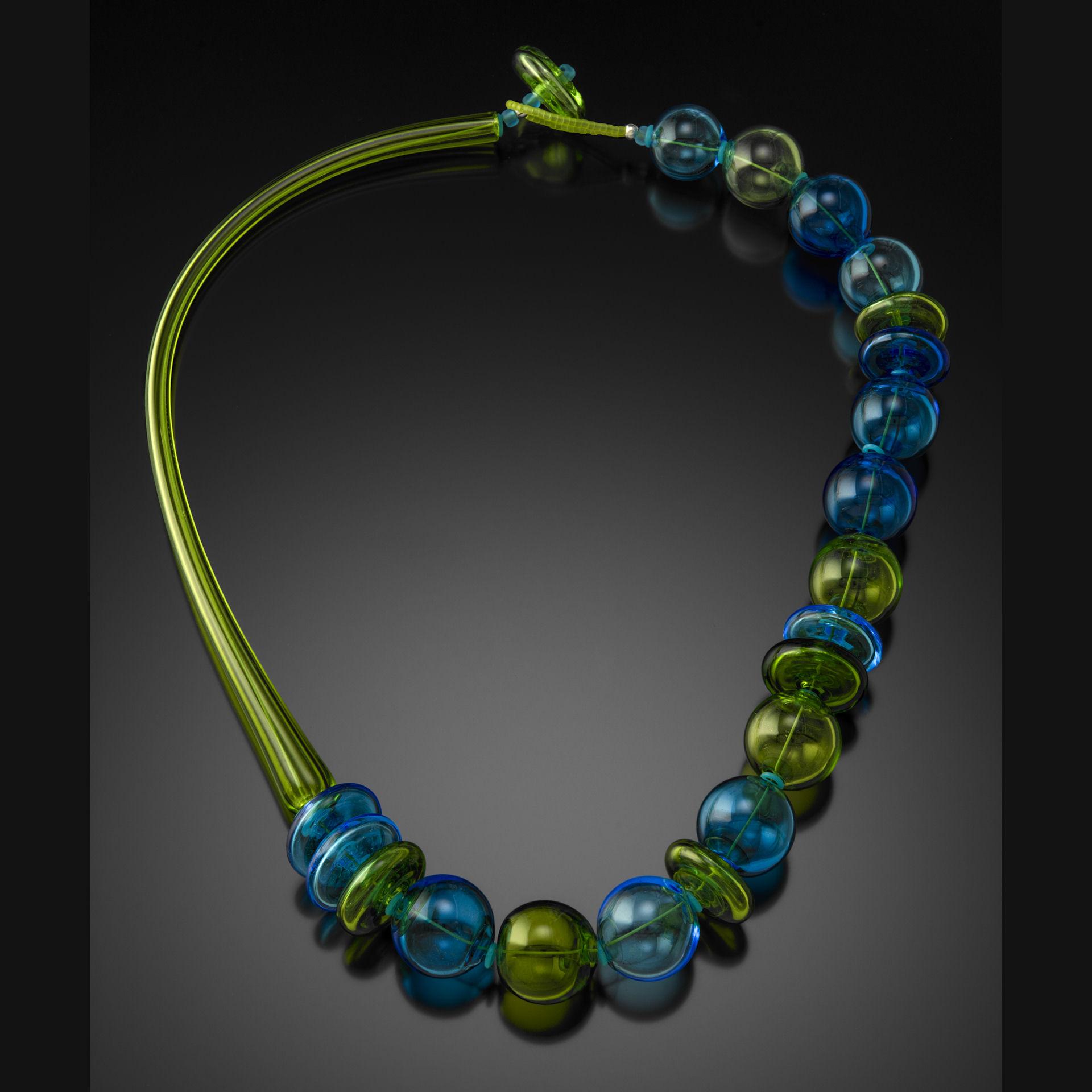 Aqua/Lime Blown Glass Necklace