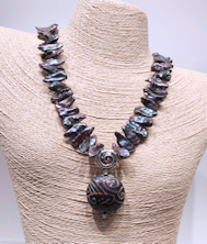Glass Blue Pearls Necklace