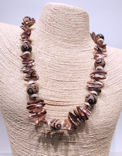 Glass Pinkish Pearls Necklace
