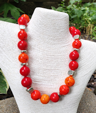 Red Orange Silver Necklace