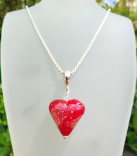 Heart Red with Silver Trail