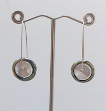 Disk Silver Glass Earrings
