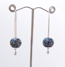 Round Signature Silver Swirl Blue Earrings