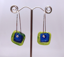 Windows Green and Blue Earrings