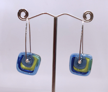 Windows Blue and Green Earrings