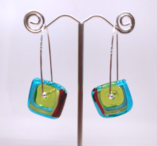 Windows Aqua and Red Earrings