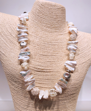 Glass Cream Pearls and Silver Necklace